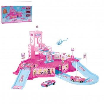 Парковка королевство принцессы, 3 металлические машины + вертолет