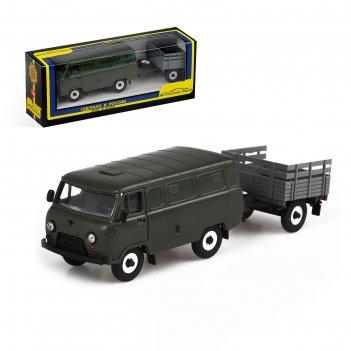 Машинка уаз-3741 - грузовой фургон, с прицепом, бортовой, масштаб 1:43