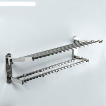 Полка откидная с держателем полотенец, 4 крючков 57х23х18 см