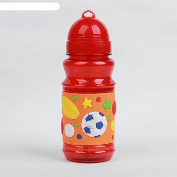 Поильник детский с трубочкой «футбол», 380 мл, от 9 мес., цвет оранжевый