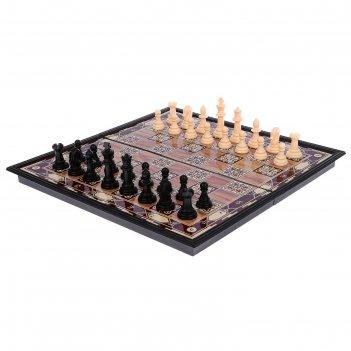 Игра настольная «шахматы», поле в клетку с узором, 18х36 см