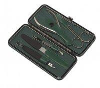 Маникюрный набор gd, 5 предметов. футляр: натур.кожа, цвет зеленый.