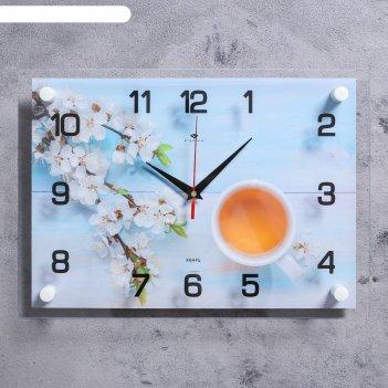 Часы настенные чай с цветами 25х35 см, аа, плавный ход