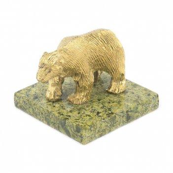 Статуэтка белый медведь бронза змеевик 50х50х40 мм 150 гр.