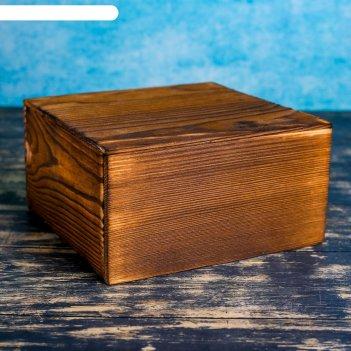 Ящик с разделителем и крышкой, брашированный, 19х19х10см