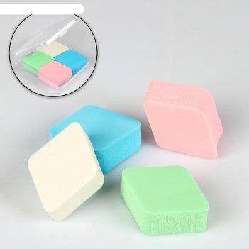 Набор спонжей для нанесения косметики, 4 шт, в пластиковом футляре, цвет м