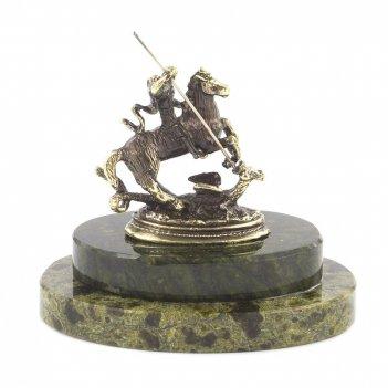 Статуэтка георгий победоносец бронза змеевик 75х75х70 мм 160 г