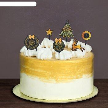 Украшения для торта с новым годом, олень, набор: 6 топперов + декор