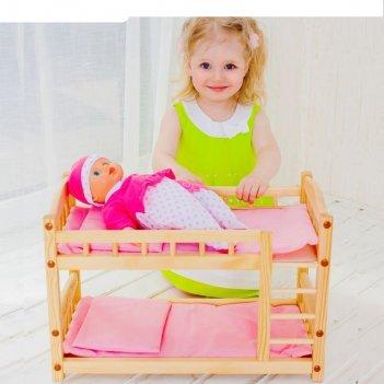 Двухъярусная кукольная кроватка из дерева, текстиль розовый