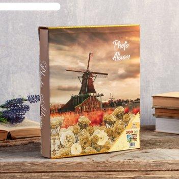Фотоальбом на 200 фото 13х18 см цветы и мельница в коробке микс 29,5х23,5х