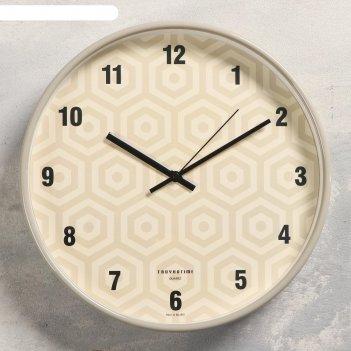 Часы настенные шестиугольники, плавный ход, d=30.5 см