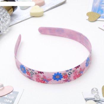 Ободок для волос переливы блеска 2 см, цветы и бабочки, микс