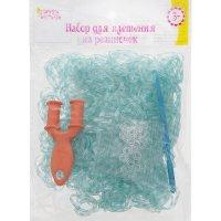 Набор плетение из резиночек зеленый с прозрачным 1000 шт, крючок, креплени