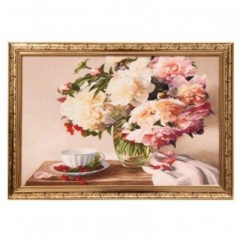 Гобеленовая картина пионы в вазе