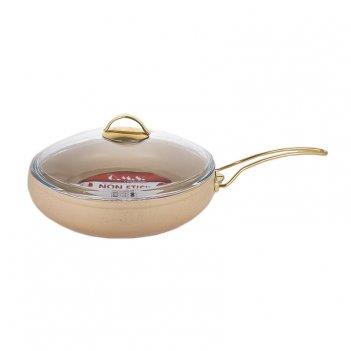 Сковорода с крышкой 28х7см.(3,5л.)/крем