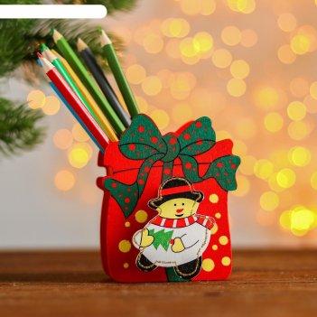 Карандашница новогодний подарочек, микс