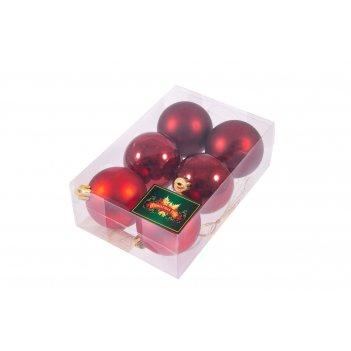 """Набор ёлочных игрушек """"шары"""" из 6шт. 60мм, красный"""