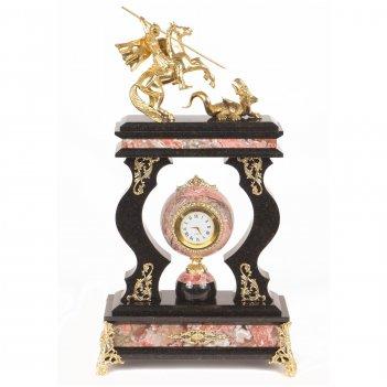 Часы георгий победоносец креноид змеевик бронза 230х105х385 мм 5400 гр.