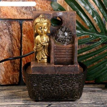 Фонтан настольный от сети маленький будда у фонтана-лестницы 18,5х10х14,5