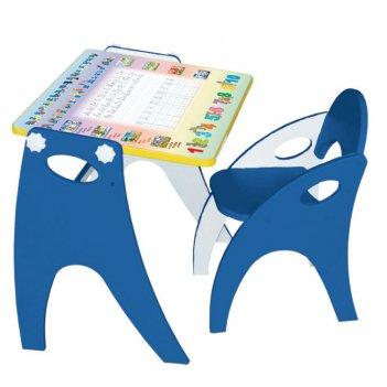 Стол-парта-мольберт (трансформер) цвет синий аппликация буквы-цифры
