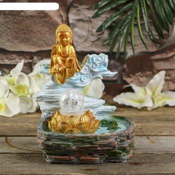 Фонтан полистоун подсветка+курительница маленький будда в золоте от 220в 2