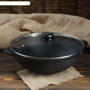 Сковорода чугунная wok тм brizoll 280х100мм со стеклянной крышкой