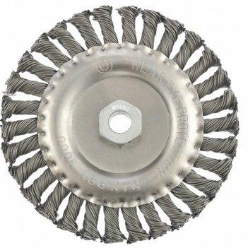 Щетка для ушм 150 мм, м14, плоская, крученая проволока 0,8 мм mtx