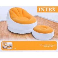 Кресло надувное с пуфиком, флок 104х109х71/64х28 см, от 6 лет