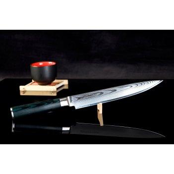 Нож кухонный для нарезки slicer samura damascus sd0045 лезвие 200 мм
