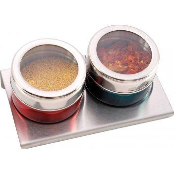 Набор для специй на магнитах+метал.подставка 3 предмета