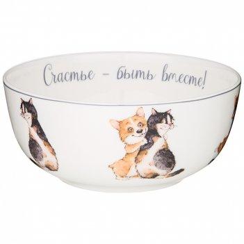 Салатник - тарелка суповая lefard  лучшие друзья 15 см (кор=24шт.)