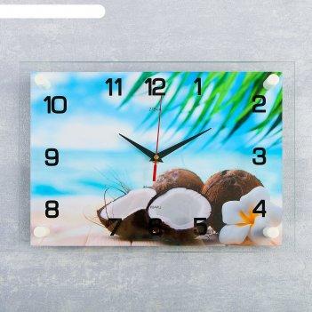 Часы настенные прямоугольные «кокосы», 25x35 см
