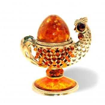 Сувенир-шкатулка курочка из янтаря