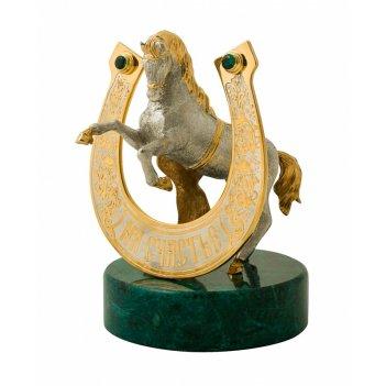 Сувенир подкова с конем на счастье  из змеевика