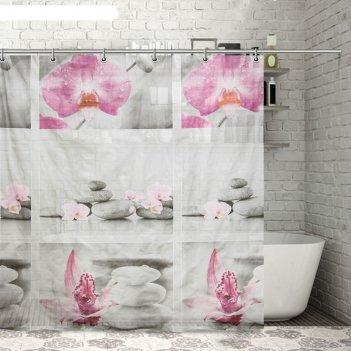 Штора для ванной камни и орхидея, 180х180 см, eva