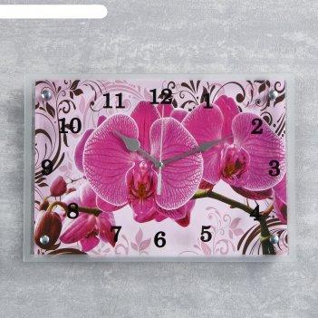 Часы-картина настенные, серия: цветы, розовые орхидеи с узором, 25х35  см,