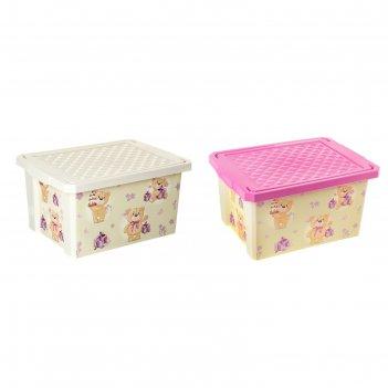 Ящик для игрушек 17 л x-box bears с крышкой, цвет микс