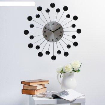 Часы настенные, серия: ажур, лучики, чёрные кристаллы, d=34 см микс