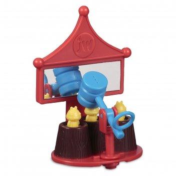 Игрушка для птиц j.w. - зеркальце с вращающейся погремушкой-молотком, плас