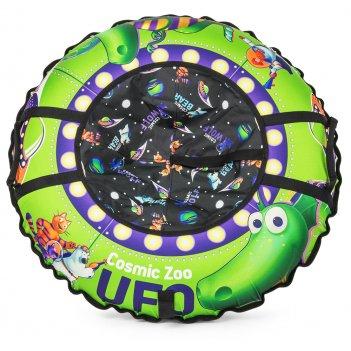 Надувные санки-ватрушка (тюбинг) cosmic zoo ufo зеленый динозаврик