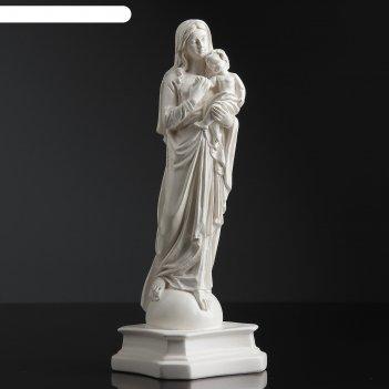 Статуэтка дева мария с младенцем, маленькая, белая