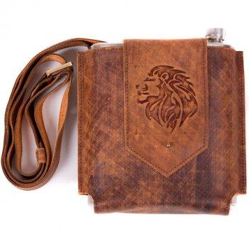 Фляжка в кожаной сумке лев 1л. (коричн.)