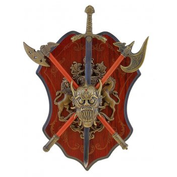 Меч и топор (2 шт) на щите с геральдикой голова демона