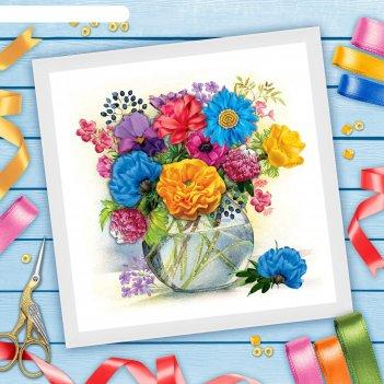 Вышивка лентами ваза с цветами, 35 х 35 см