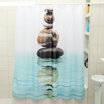 Штора для ванной 180x180 см камни на воде, полиэстер