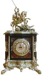 Каминные часы георгий победоносец, камень яшма, статуэтка бр
