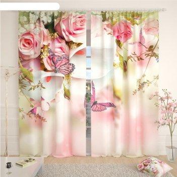 Фотошторы «розы и бабочки», размер 145 x 260 см, габардин