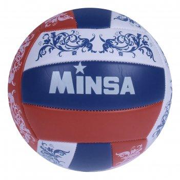 Мяч волейбольный minsa v14 р.5 18 панелей, pvc, 2 под. слоя, машин. сшивка