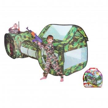 Игровая палатка секретный объект с туннелем, цвет хаки