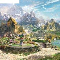 Панно городок в горах 3 к-318 (3 полотна), 300x300 см
